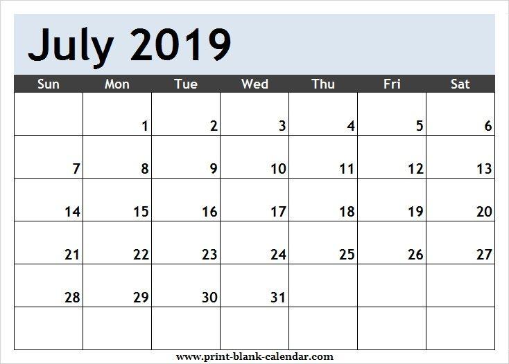 Calendar Schedule 2019 Printable July 2019 Calendar Schedule | Printblank | 2018 calendar