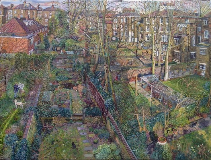 Melissa Scott-Miller's HOLLOWAY BACK GARDENS WITH SELF PORTRAIT at the RA Summer Exhibition 2015