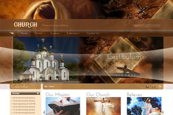 SJ Church - A template for religious purpose - SJ Church Joomla Template 2.5 is ready for you to install.