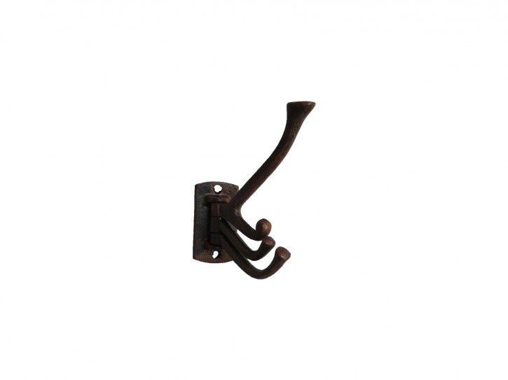 Rustikale Metallgarderobe mit 3 Metallhaken welche beweglich sind.  Der Wandhaken wird mit 2 Schrauben an der Wand befestigt (Befestigungsmaterialien sind nicht im Lieferumfang enthalten).