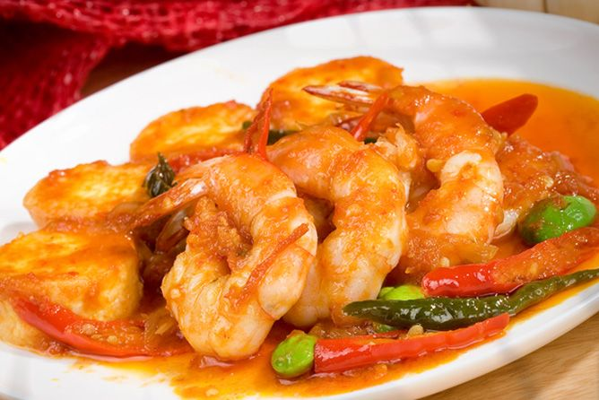 Tauco Shrimp With Green Chillies – Traditional Food With Fermented Soy Bean Sauce