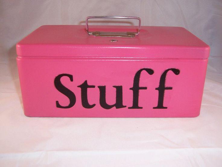 Vintage, Upcycled, Metal Box, Decorative Box, Trinket Box, Storage Box, Industrial Pink, Office Decor,  Bedroom Decor, Teen Bedroom Decor. $14.50, via Etsy.