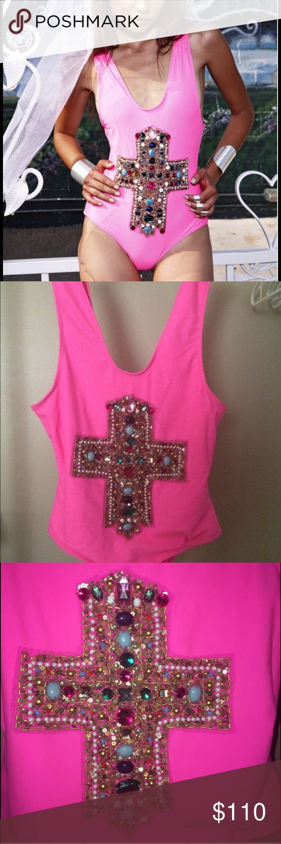 Beach Riot hot pink jewel encrusted cross onepiece SOLD OUT Beach Riot one piece with jewel encrusted cross! The color really pops and is perfectly cut in the front, sides and back. So cute! Beach Riot Swim One Pieces