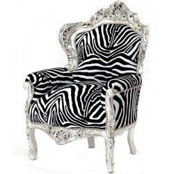 Poltrona divano barocco zebra zebrata argento silver