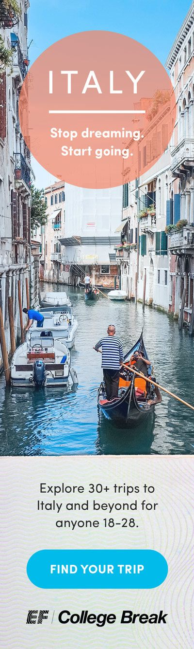 We organize easy and affordable group trips for ANYONE 18 to 28 years old—no college required.  We have more than 30 trips to Italy and beyond.  Easy Payment Plans available. Secure your spot with $150 deposit, then pay a little each month.   See all trips to Italy at efcollegebreak.com