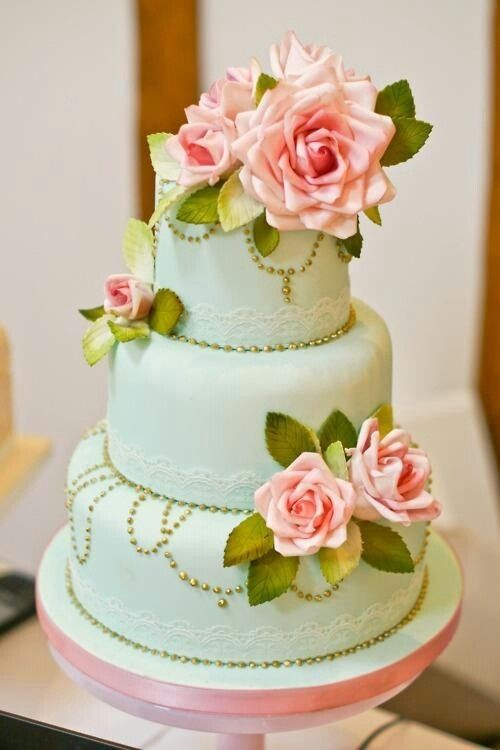 Wedding Cakes Inspirations: mint green wedding cake with gold details and pink florals