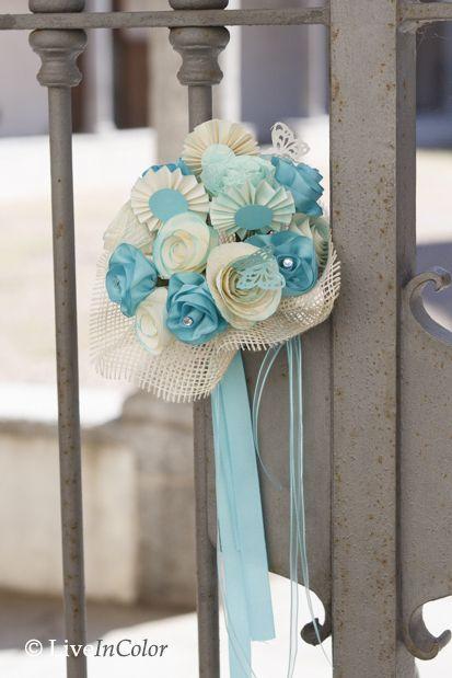 bouquet da sposa realizzato a mano con carta e nastri. Wedding handmade bouquet with paper and ribbon. Tiffany!!