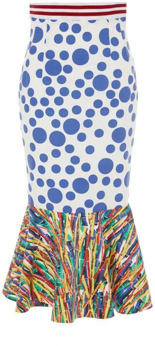 Stella Jean Berta Trumpet Skirt Blue/Multi on shopstyle.com