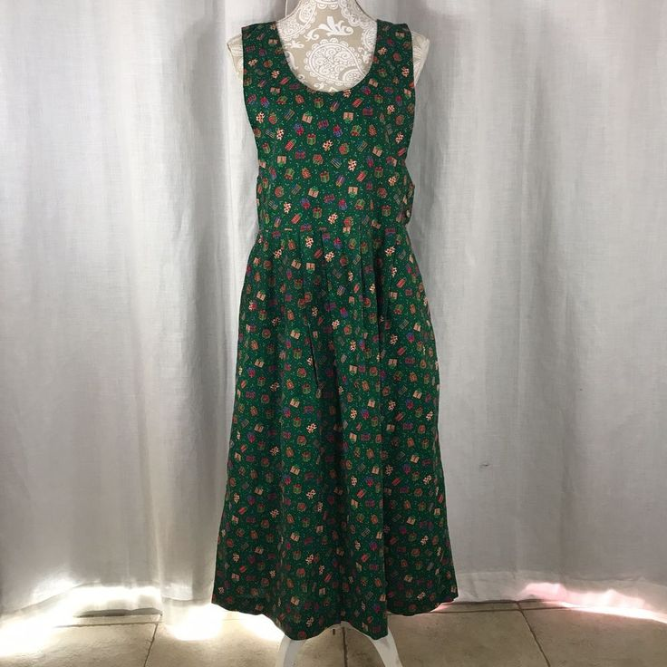 Vtg 80s Christmas Jumper Dress L Mrs Claus Modest Gifts Holly Pockets Technics  | eBay