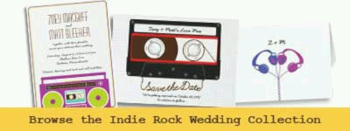 Zazzle.com indie rock wedding stationary collection-various color options