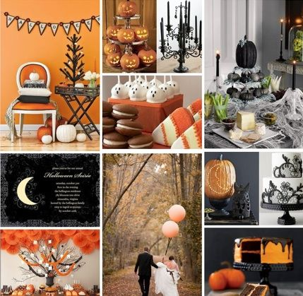 Orange-and-black decor, to glitter pumpkins, black chandeliers, webbed cakes, and skeleton everything