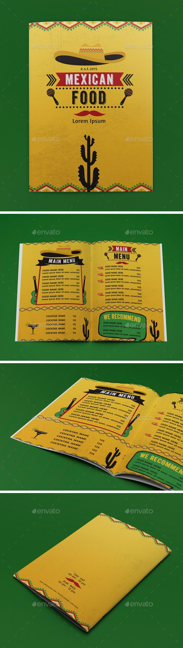 Mexican Food Menu Template #design Download: http://graphicriver.net/item/mexican-food-menu/12795149?ref=ksioks
