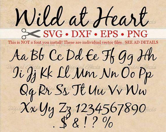 Wild At Heart Script Svg Monogram Cursive Script Svg Font Dxf Eps Png Handwritten Svg Script W In 2020 Lettering Fonts Hand Lettering Alphabet Lettering Alphabet