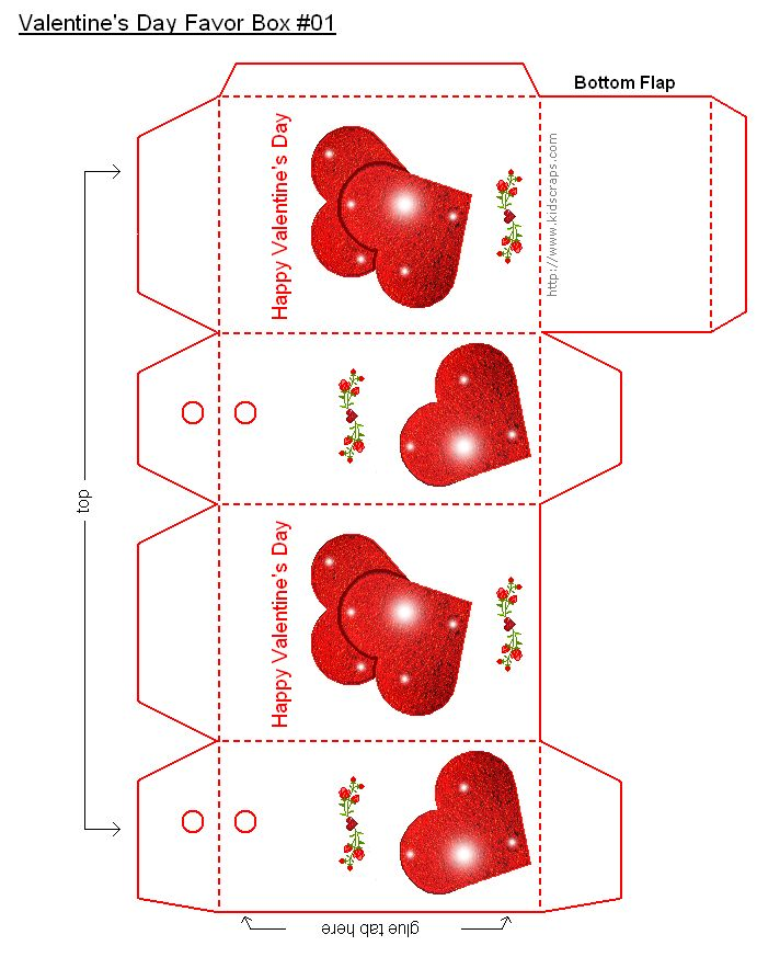 FREE Printable Valentine's Day Favor Boxes - Holiday Party Favors at Kid Scraps