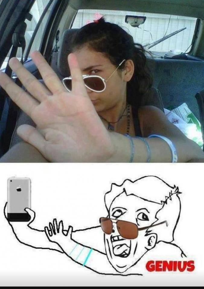 Genius Girl Selfile Photo Fail