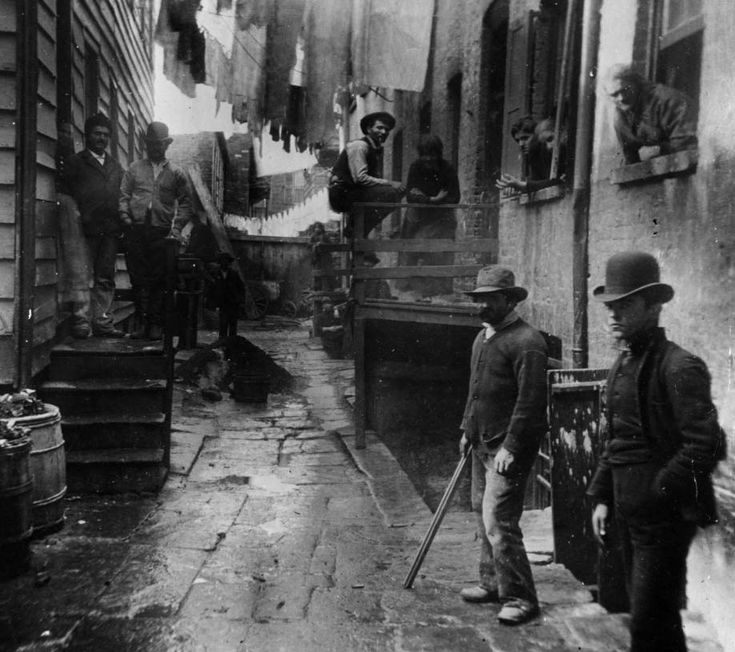 Bandits Roost off Mulberry Street, New York City, 1887. The opening scene from the movie Gangs of New York was based off this photo
