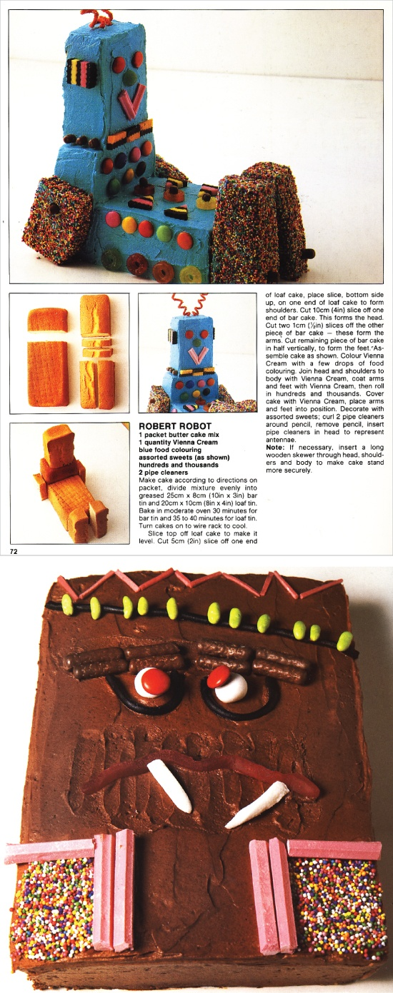 "creative & fun robot cakes for kids! from The Australian Women's Weekly's ""Children's Birthday Cake Book"""