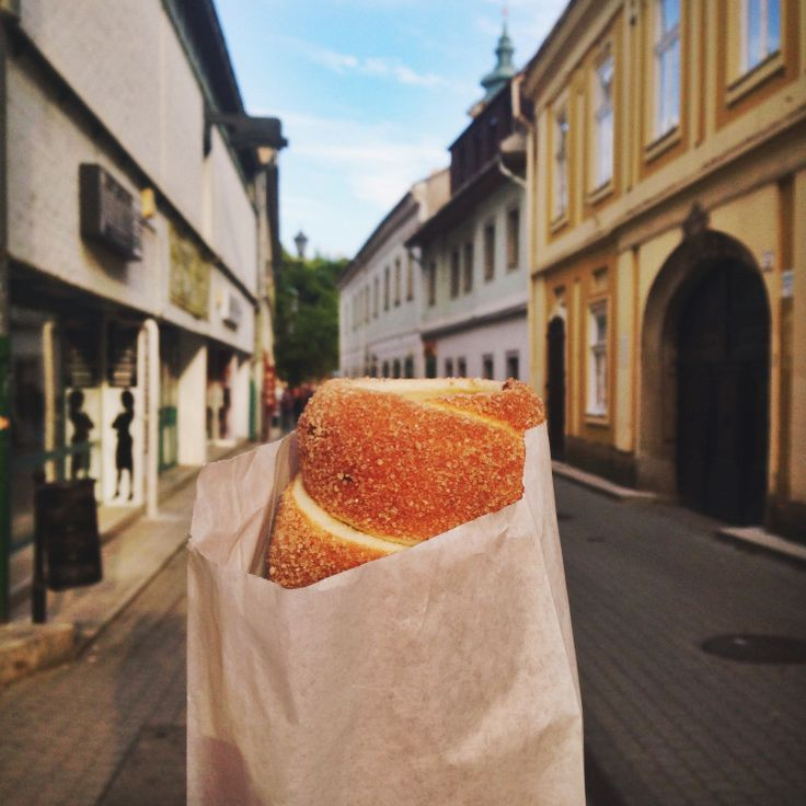 Hungarian chimney cake in Eger, Hungary