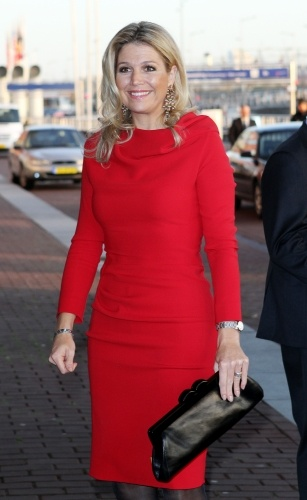 Princess Maxima of the Netherlands, Nov. 2011.  Love this red dress + earrings
