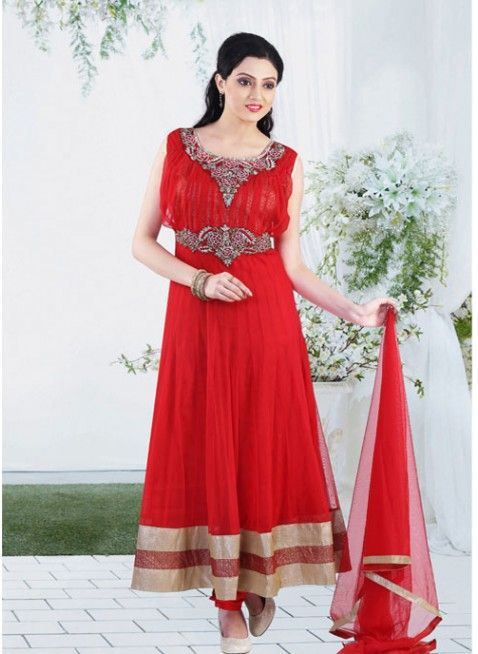 Red festival #anarkali_suit with zari thread work