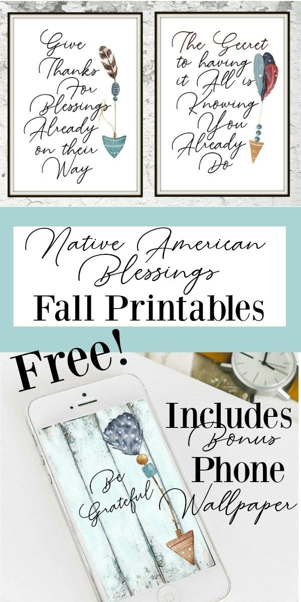 Get your Free Fall Printables. These Native American Blessings are a beautiful addition to any fall decor!