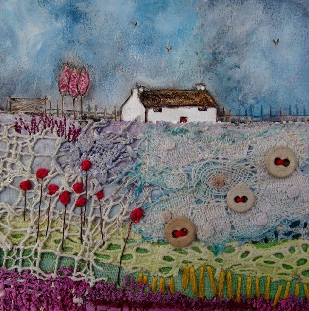 'Sleepy Cottage' by Louise O'Hara of DrawntoStitch www.drawntostitch.com
