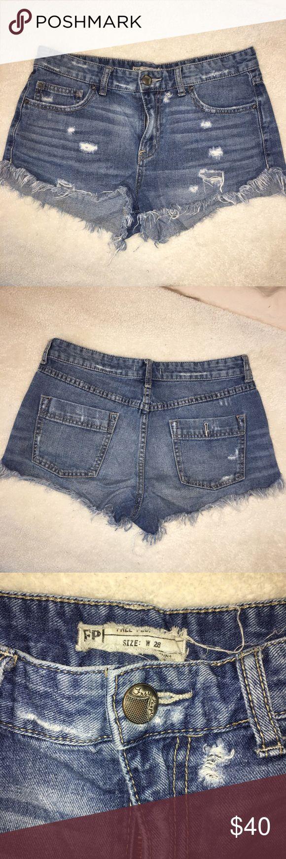 Free People Cutoff Jean Shorts Distressed denim cutoff jean shorts from Free People. Only worn a couple of times. Make offers! Free People Shorts Jean Shorts