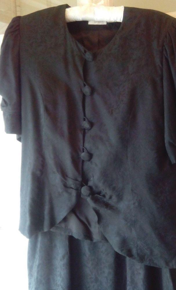 Dress Vintage 100% Silk 40'S-50'S Black on Black Silk Poi d' soie 2 pc.sz.10 #JACKMULQUEENNEWYORK #DRESSY #EVENINGTRAVELMINI