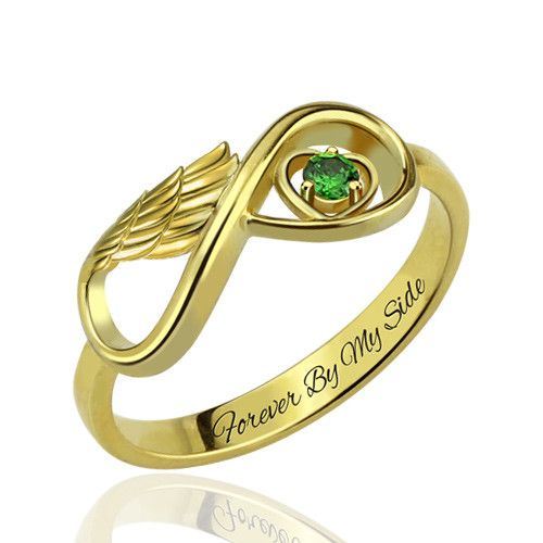 One Stone Infinity Angel Wings Gold Ring