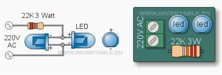 Ahora explico como conectar un LED directamente a la red eléctrica.     © Web del Autor →
