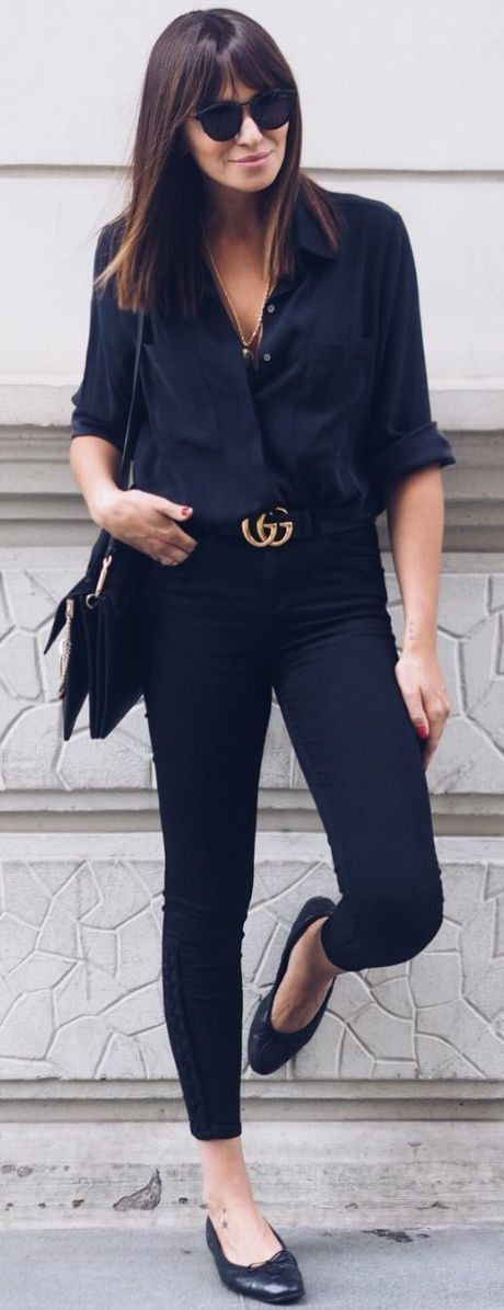 #spring #summer #street #style #outfitideas | Navy + Black V neck blouse , black blouse