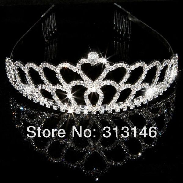 Shining Bridal Wedding Crystal Rhinestone Double Layer Crown Pageant Silver Plated Women Lady's Children Girl's Tiaras Hair Comb Headband for ...
