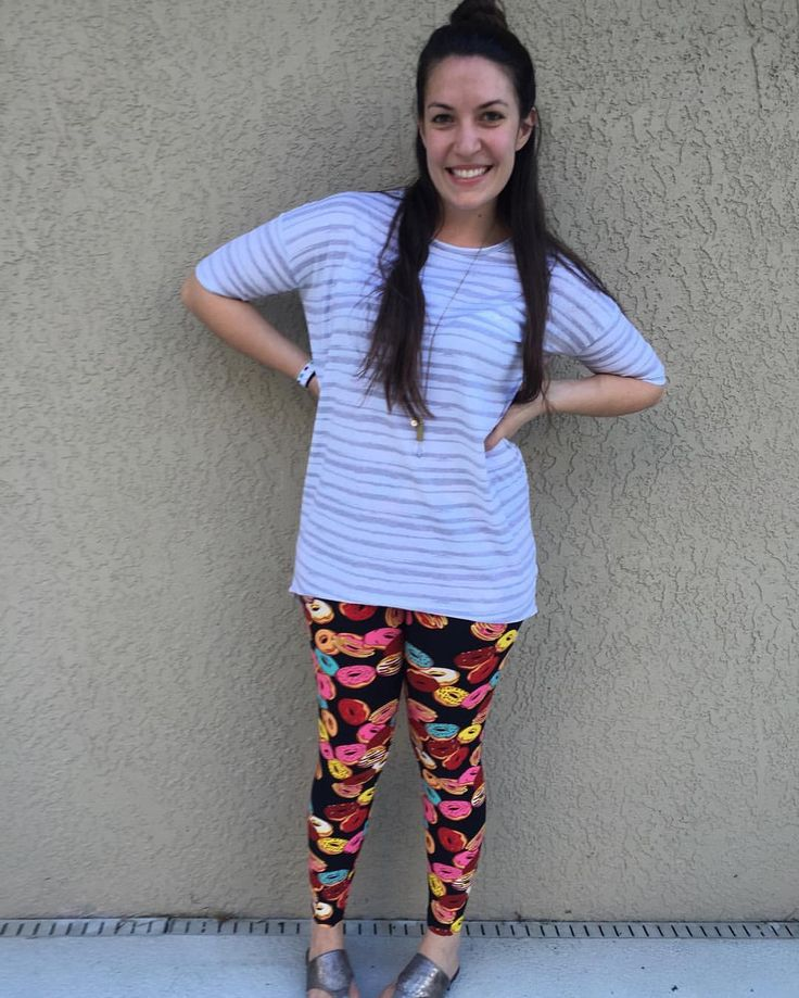 LuLaRoe Donut Leggings and an Irma. Pattern mixing at its finest