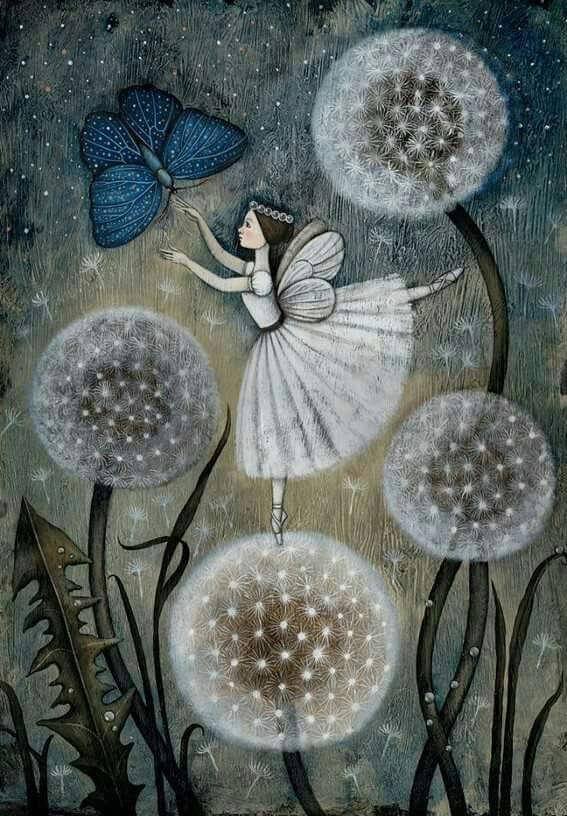 Fairy & butterfly on dandelion puffs - love the colors