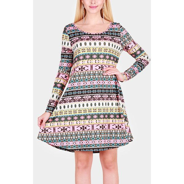 Yoins Pink Geometrical Pattern Round Neck Long Sleeves Christmas Dress ($23) ❤ liked on Polyvore featuring dresses, pink, long-sleeve mini dresses, geometric print dress, pink long sleeve dress, pink dress and pink day dress
