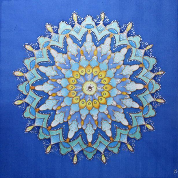 """Mandala painted on silk - Hedvábné mandaly (malba na hedvábí) """"Když začíná se den"""""""