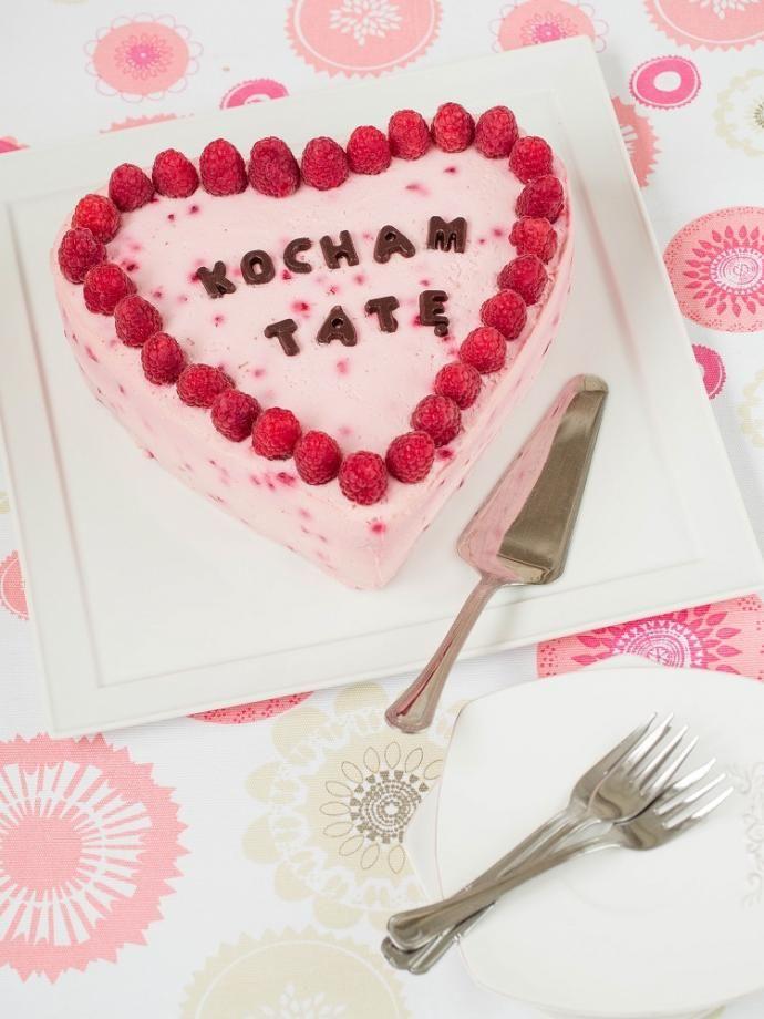 Malinowy tort serduszko na Dzień Ojca  #recipe #panitereska