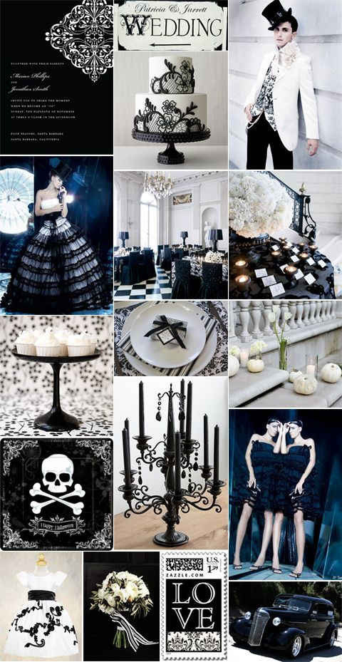 Halloween Wedding in Black and White