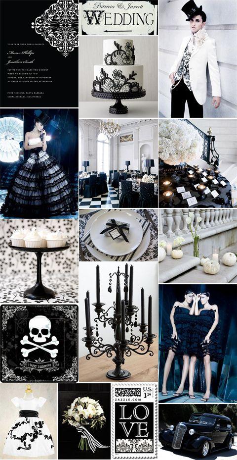 Inspiration Board: A Posh Halloween Wedding in Black & White | Pixel & Ink