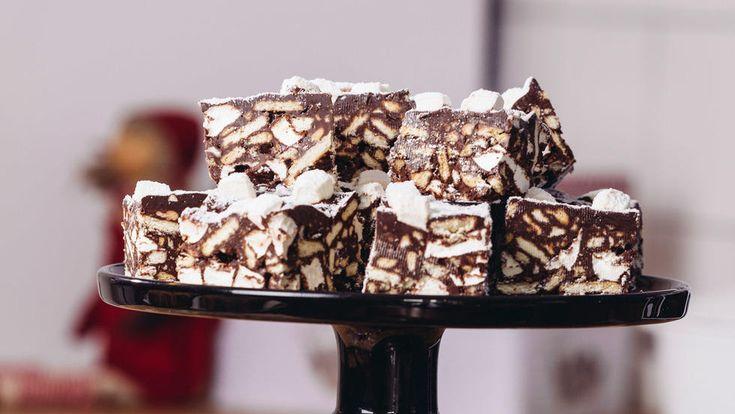 Rocky Road med kjeks og marshmallows