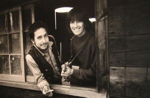 Bob Dylan and George Harrison, 1968 Woodstock NY, at Dylan's farm.