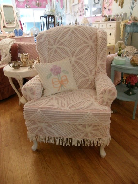 wingback chair vintage pink chenille bedspread slipcover shabby chic cottage - Slipcover For Wingback Chair