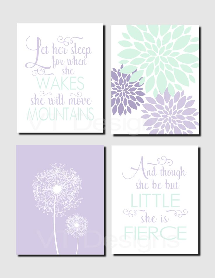 girl nursery art kids wall art mint lavender toddler girl room let her sleep and though she be but little set of 4 prints or canvas