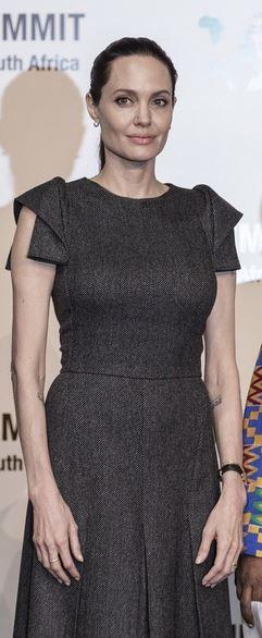 Who made  Angelina Jolie's gray pleated dress?
