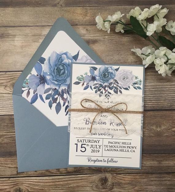 Rustic Invitation Dusty Blue Wedding Invitation Light Blue Invitation Navy Blu Wedding Invitations Boho Cheap Wedding Invitations Wedding Invitations Rustic