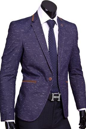 Стильный мужской пиджак под джинсы синего цвета