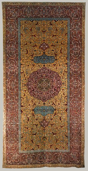 Anhalt carpet, mid-16th century, cotton warp, silk weft, wool pile, asymmetrically knotted, Iran/Persia