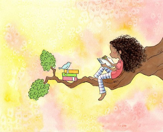 Girl With Long Curly Hair Writing with Bluebird - The GIRL Who WROTE STORIES  Art Print