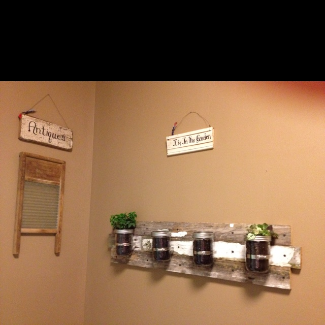 Herb/lavender indoor garden!! Old wood fence pieces and of course mason jars! :)