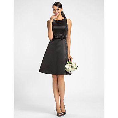 Potential Bridesmaid dress  A-line Jewel Knee-length  Satin Bridesmaid  Dress – USD $ 67.99